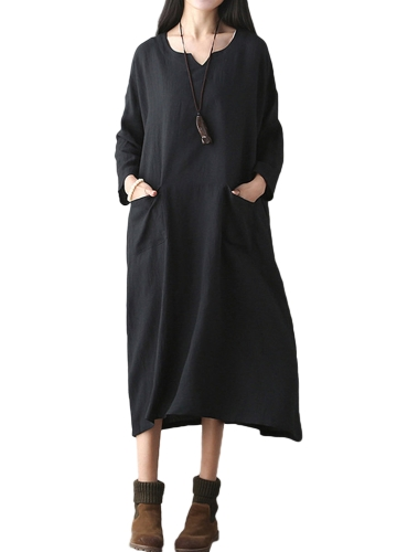 Vestido retro de mujer de gran tamaño, vestido informal, largo, suelto, bolsillos Vestido de tamaño extragrande negro / rojo