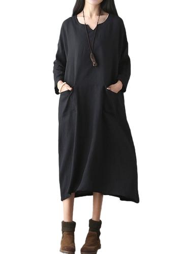 Oversized Women Retro Dress Casual Loose Long Dress Pockets Solid Plus Size Vestido Preto / Vermelho