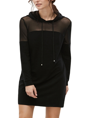 Sexy Women com capuz vestido Sheer Mesh Solid Long Sleeve Elegant Party Club Hoodies Vestidos Preto