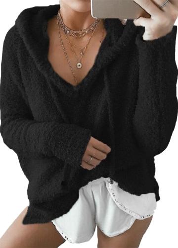 Donna Inverno caldo con coulisse Felpa con cappuccio Felpe Cappuccio con cappuccio in pelliccia sintetica