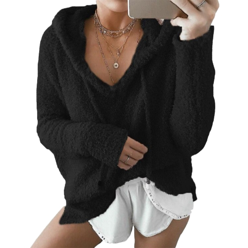 Women Winter Warm Drawstring Sweatshirt com capuz Sweaters Faux Fur Outwear Hoodie Overcoat Casual