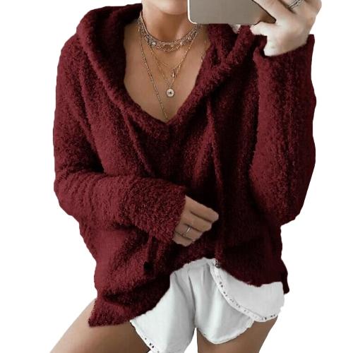 Las mujeres invierno cálido con cordones sudadera con capucha suéteres de piel sintética outwear con capucha Casual abrigo