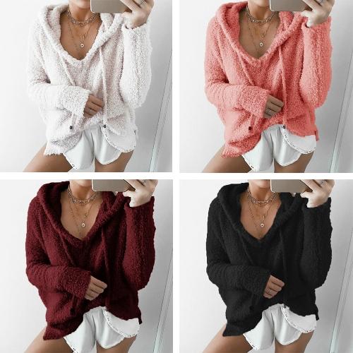 Frauen Winter Warm Kordelzug Mit Kapuze Sweatshirt Pullover Kunstpelz Outwear Hoodie Casual Mantel