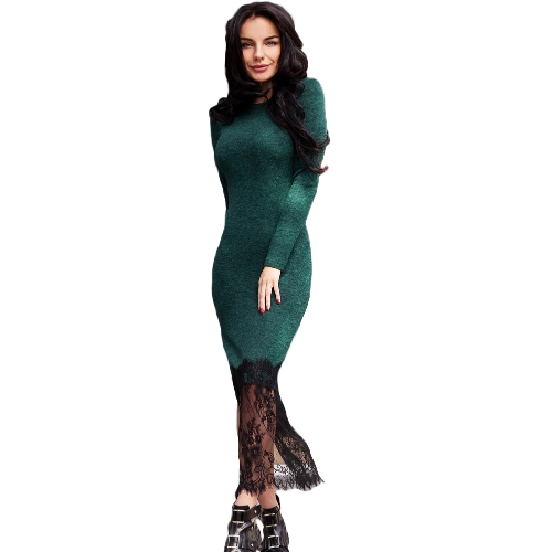 Sexy Women Lace Hem Dress mangas compridas High Slit Side Slim Casual Party Dress Bodycon Vestidos