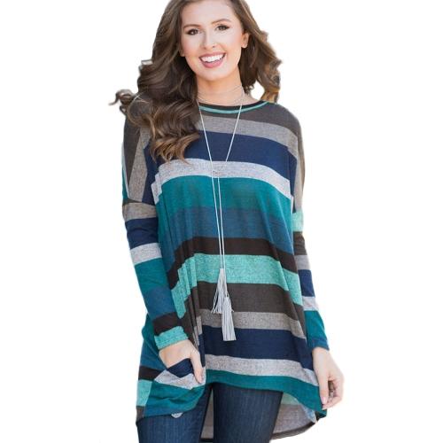 Las mujeres mangas largas sueltas camiseta a rayas de color alto bajo dobladillo asimétrico camisetas largas Tops casuales