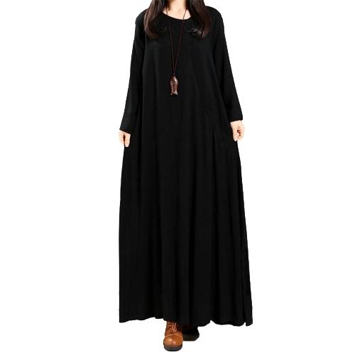 Las mujeres de la vendimia se visten con botones de algodón sólido bolsillos de cuello redondo irregular Maxi vestido de manga larga suelta de una sola pieza