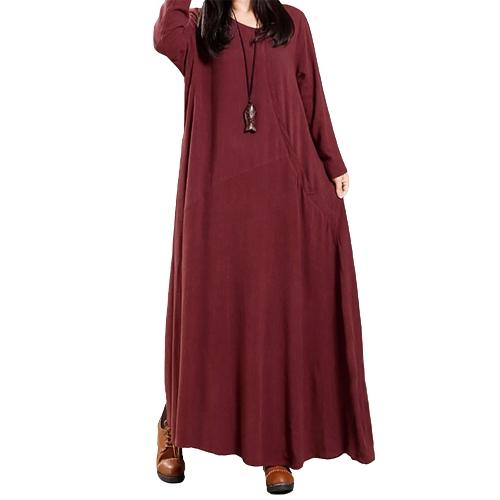 Vestito da donna vintage in cotone solido con bottoni Tasche a girocollo irregolare Manica lunga Abito lungo Un pezzo unico
