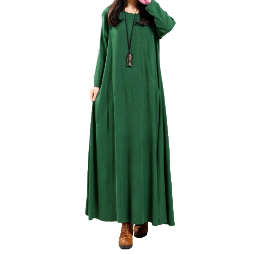 Vintage Women Dress Solid Cotton Buttons Pockets Irregular Round Neck Long Sleeve Maxi Gown Loose One-Piece