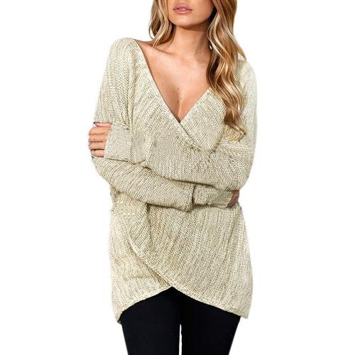 Suéter hecho punto de las mujeres atractivas cruz cuello en V profundo de manga larga suéter flojo sólido jersey de punto gris claro / de color caqui