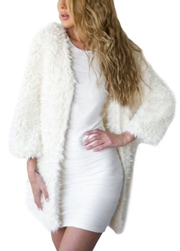 New Winter Women Fluffy Faux Fur Coat Soft Lining Warm Solid Elegant Midi Outerwear Overcoat