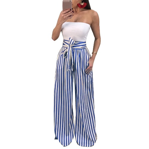 Pantalones de las mujeres contraste rayas rayas alta cintura recta piernas anchas pajarita pantalones casuales desgaste del partido