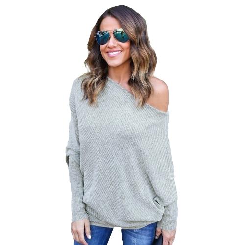 Camiseta suelta de mujer con costuras en el hombro Hombro asimétrico con manga de murciélago en cuello redondo Casual Pulóver extragrande