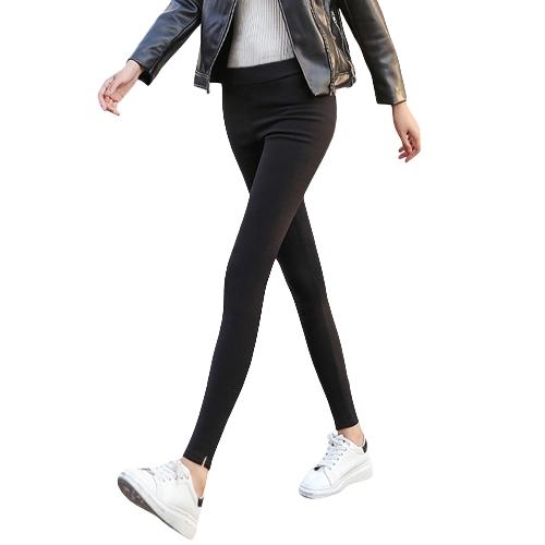 Frauen Bleistift Hosen beiläufige elastische Taille dünne Hosen plus Größe feste Strumpfhosen Stretch Leggings dünne Hosen