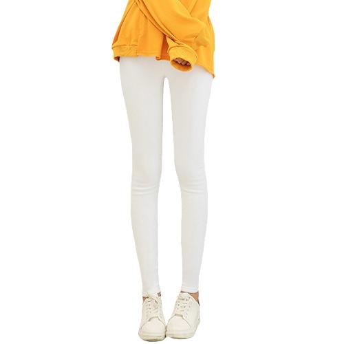 Pantalones lápiz mujer Casual pantalones elásticos cintura elástica más el tamaño de mallas sólidas Stretch polainas pantalones delgados