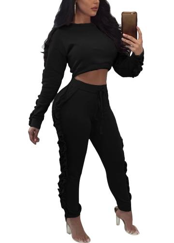 TOMTOP / Mulheres Conjunto de duas peças Ruffle Crop Top Calças longas O-Neck Mangas compridas Drawstring Casual Sportswear Calças superiores Preto / Rosa
