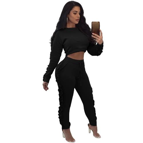 Mulheres Conjunto de duas peças Ruffle Crop Top Calças longas O-Neck Mangas compridas Drawstring Casual Sportswear Calças superiores Preto / Rosa