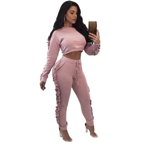 Conjunto de dos piezas de las mujeres con volantes Crop Top pantalones largos O-cuello de manga larga con cordón deportivo casual Top pantalones negro / rosa