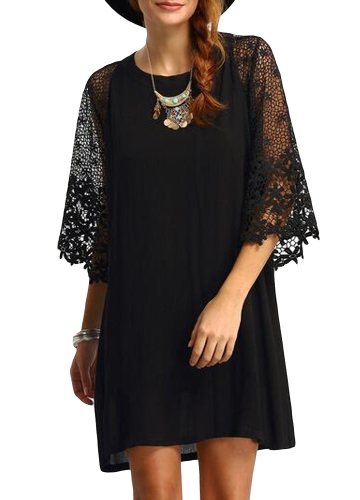 Mulheres Loose Dress Sheer Lace Cut Out 3/4 Sleeve Casual Vestido curto Solid Mini Dress Plus Size Vestidos Black