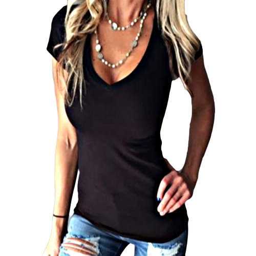 Las nuevas mujeres de la manera camiseta sólida cuello en V manga corta camiseta de cintura delgada Top negro / Borgoña