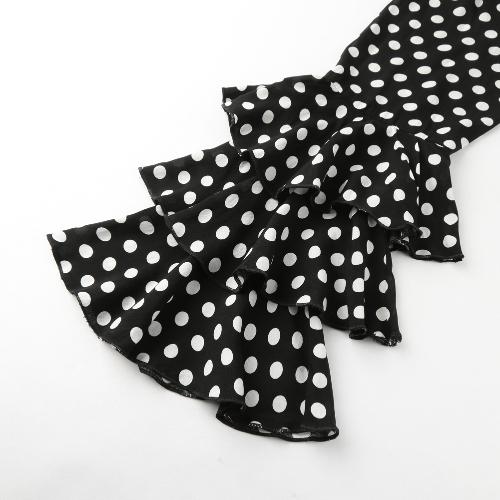 Женщины Polka Dot Ruffle Блузка с длинными рукавами O-Шея Элегантная повседневная рубашка Black фото