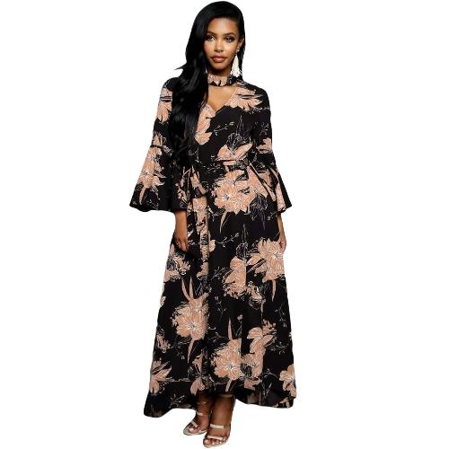 Mulheres Chiffon Maxi Dress Floral Print Cut Out V-Neck Chocker Flare Sleeve Vestido longo Black / Burgundy
