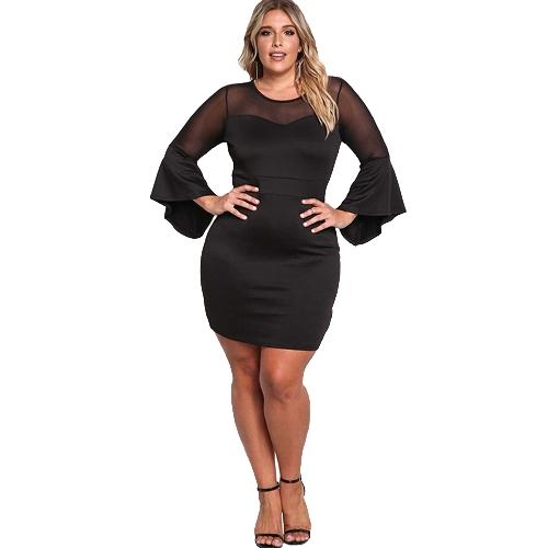 Sexy Women Plus Size Sukienka O Neck Three Quarter Sleeve Solidna Elegancka Sukienka Burgundy / Black