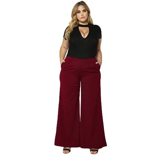 Mujeres de la manera más el tamaño pantalones anchos de la pierna Bolsillos laterales de color sólido pantalones de cintura alta negro / Borgoña