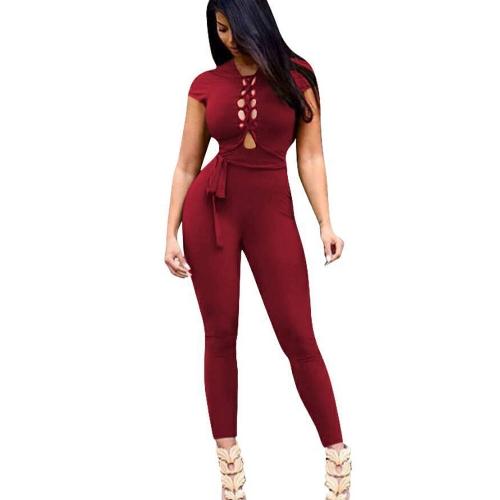 Nuevas mujeres atractivas con cordones Bodycon mono sin respaldo manga corta Clubwear Party Romper Playsuit con cinturón