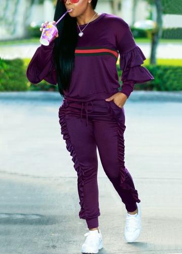 Mujeres de la moda de dos piezas conjunto de rayas con volantes Top Drawstring pantalones largos de manga larga con capucha Casual Sportswear