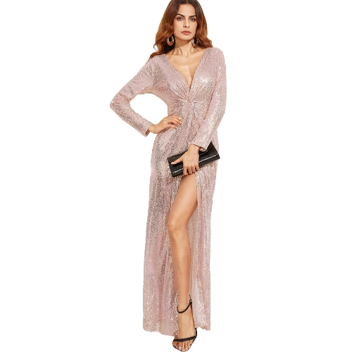 Frauen Kleid Pailletten funkelnden tiefen V Twist geknotete High Split Langarm Maxi Kleid Sexy Party One-Piece