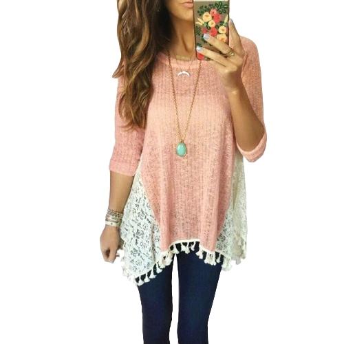 Causal Women T-Shirt Lace Splicing Tassel Fringe Detail O Neck Manga comprida Irregular Hem Top Pink