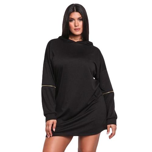 Frauen plus Größe langes Sweatshirt mit Kapuze Kleid feste lange Hülsen-beiläufige dünne Hoodies Minikleid schwarz