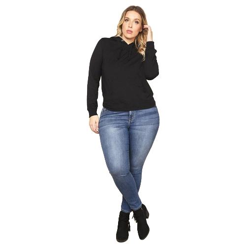 Damen Plus Size Sweatshirt Solid Kapuzen-Drawstring-Tasche Langarm Casual Oversized Pullover