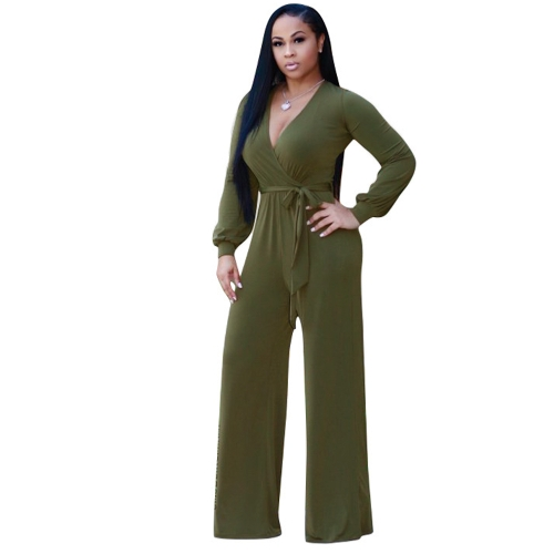 Sexy Women Jumpsuit Deep V-Neck mangas compridas Belt Wide Legs Sólido Elegante Casual Long Romper Body Suits
