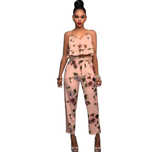 Mulheres Summer Two Piece Set Floral Printed Spaghetti Strap Double Ruffles Crop Tops & Long Pants Sets