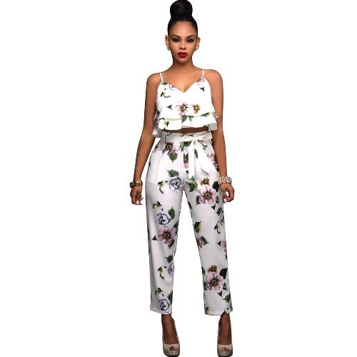 Set de dos piezas de verano para mujer con estampado de flores correa de espagueti doble volantes recortes y pantalones largos conjuntos