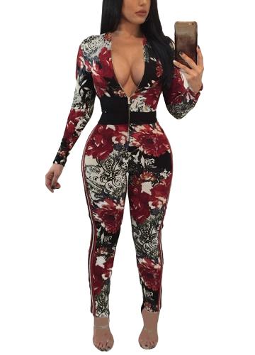Vintage Women Jumpsuit Floral Print V Neck manga comprida Rompers Retro Slim Bodycon Bodysuit Bodysuit Vermelho