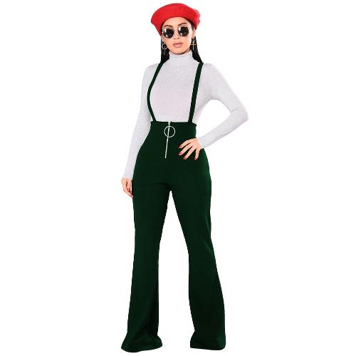 Monos mujer overoles Bell-bottomed O-ring cintura alta cremallera frontal acampanados Casual Monos Pantalones Pantalones