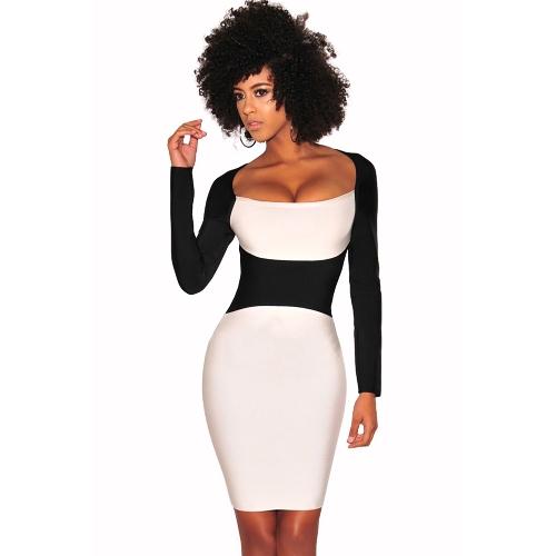 Nuevo vestido del lápiz atractivo de las mujeres del cuello cuadrado de manga larga Color Block Clubwear vestido de fiesta de noche blanco / Borgoña