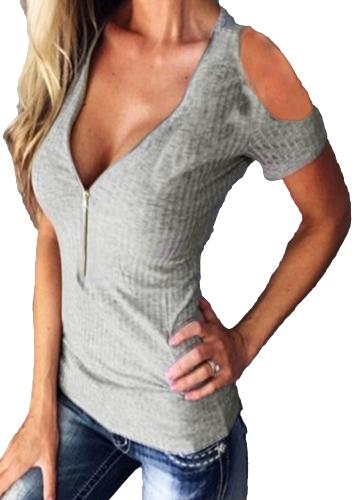 Женская футболка Твердая стретчи Ребристая глубокая V Холодная наплечная молния с коротким рукавом вырезанная из тонких повседневных топов фото
