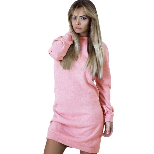 Vestido sin espalda de las mujeres V sin respaldo del empalme del cordón de la manga larga del o cuello Mini vestido