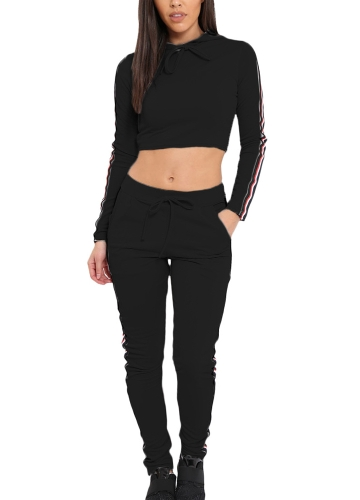 Frauen Zwei Stücke Hoody Crop Top Bleistift Hosen Striped Slim Sport Lässige Trainingsanzüge Hoodies Hosen