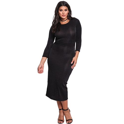 Kobiety Bodycon Midi Dress 3/4 rękaw Shining Slit Back Knitting Płaszcza Ołówek Party Dress Black