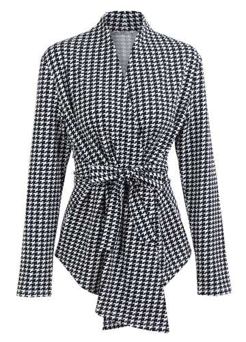 Las mujeres Houndstooth Plaid Cardigan Coat mangas largas Open Front Waist Strap Asimétrico Casual Tops Outwear