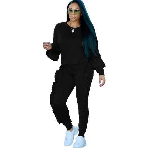 Moda Mulheres Conjunto de duas peças Comprimentos sólidos Ruffled Top Drawstring Calças longas Hoodies de manga comprida Roupa de esporte casual
