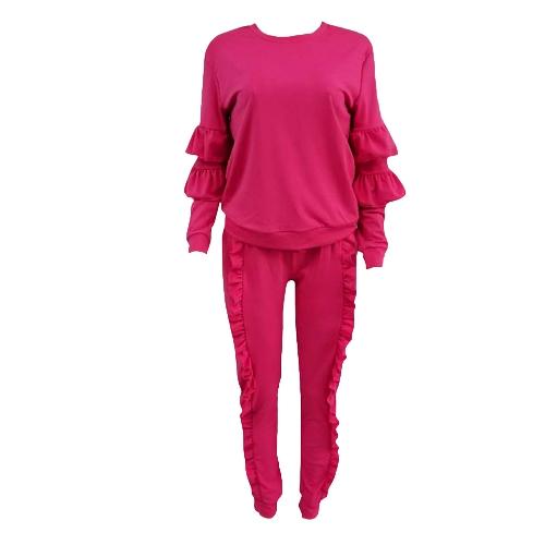 Moda donna in due pezzi Set solido arruffato Top con coulisse Pantaloni lunghi Felpe con cappuccio maniche Sportivo casual