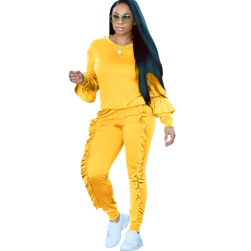 Mujeres de la moda de dos piezas conjunto sólido con volantes superior con cordón pantalones largos manga larga sudaderas con capucha Casual ropa deportiva