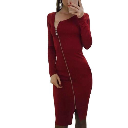 Nueva Sexy Bodycon Vestido irregular cuello de manga larga con cremallera frontal raja partido vendaje vestido de lápiz Clubwear