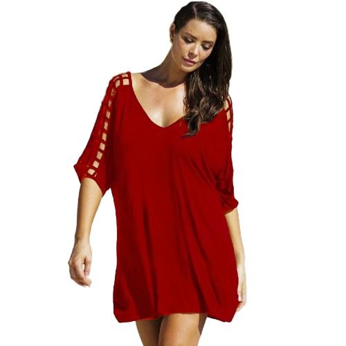 Mujeres atractivas de gran tamaño V profundo ahueca hacia fuera la mitad de las mangas de la cubierta suelta Ups Shift Casual Mini vestido Beachwear