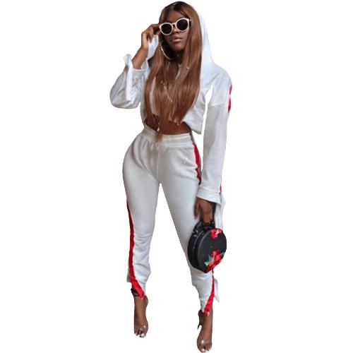 Mujeres de la moda de dos piezas conjunto a rayas con capucha con cordón pantalones largos manga larga con capucha Casual ropa deportiva blanco